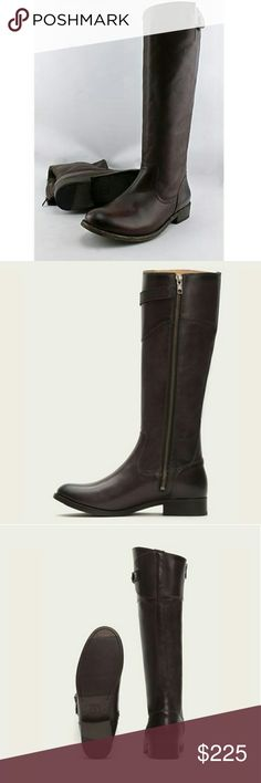 Frye Women's Molly Button Tall Boots Classic riding boot and smooth vintage leather in dark grey Frye Shoes