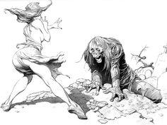Frank Frazetta Lady and Zombie