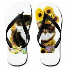 #Artsmith Inc             #ApparelFootwear          #Women's #Flip #Flops #(Sandals) #Kittens #with #Sunflowers                   Women's Flip Flops (Sandals) Kittens with Sunflowers                                                    http://www.snaproduct.com/product.aspx?PID=7854052