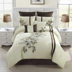 Allegra 8-Piece Comforter Set in Chocolate/Ivory