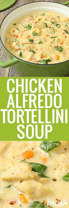Chicken Alfredo Tortellini Soup is like a chicken Alfredo recipe with vegetables in a creamy soup. Make this recipe for a comforting meal. #ChickenAlfredoTortelliniSoup #ComfortFood #Soup