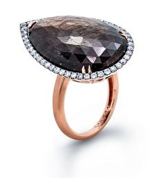 Fancy Sapphire Slice and Diamond 18K Rose Gold Ring