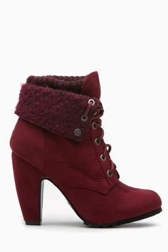 1cebfda5bb77 Burgundy Faux Suede Chunky Fold Over Lace Up Booties   Cicihot. Booties  spell style