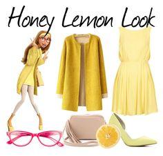 """Honey Lemon Look"" by disneylover9822 ❤ liked on Polyvore featuring Topshop, Corinne McCormack, ALDO and Lauren Merkin"