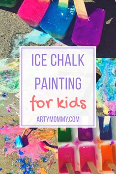 Summertime Art: Ice Chalk Painting – ARTY MOMMY Teach your kids about process art and cool off at the same time with this DIY ice chalk project. Using corn starch, paint and water, create colored ice cubes for painting, printmaking and imaginative play. Color the backyard and wash it clean. Art for Kids of all ages.