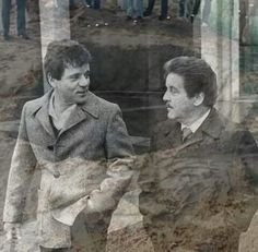 "The Spilotro brothers- Tony & Michael and a ghostly image of the hole they were buried in together in Enos Ind. after being beaten to death on Bensenville Il. home belonging to Louie ""The Mooch"" Eboli. (Ross Stanger)"