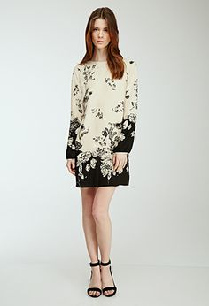 Brushstroke Floral Shift Dress   Love21 - 2000100345