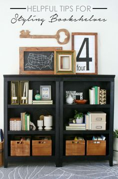 Tips for Styling Bookshelves. These Helpful Tips for Styling Bookshelves will help you to create a gorgeous space in no time. Styling Bookshelves, Decorating Bookshelves, Cheap Bookshelves, Bookshelf Storage, Bookcases, Diy Home Decor, Room Decor, Interior Paint Colors, Interior Painting