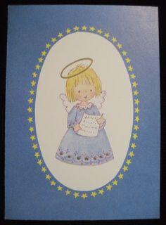 Christmas Greeting Card Gilded Singing Angel Girl Fravessi Card