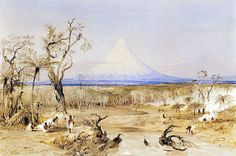 Mt Egmont from the North Shore of Cook Strait, New Zealand, Natives burning off wood for Potato Grou by THOMAS ALLOM