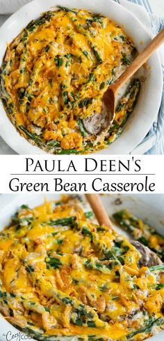 Paula Deen's Green Bean Casserole This homemade Green Bean Casserole recipe from Paula Deen is an easy make-ahead side dish idea for holidays and family dinners. It's full of simple ingredients and is all topped with warm, melted cheese. Easter Dinner Recipes, Thanksgiving Recipes, Appetizer Recipes, Holiday Recipes, Green Bean Casserole Easy Thanksgiving, Thanksgiving 2020, Appetizers, Side Dishes Easy, Vegetable Side Dishes