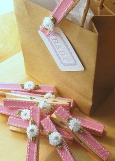 Last Set Designer clothespins set of 10 baby pink por Artesenias
