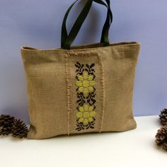 Burlap tote bag, cross stitched  with tribal pattern by hand , one of a kind  beach tote bag, handmade tote bag, Casual Tote Bag by Apopsis on Etsy