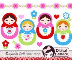 Lindo Matryoshka Clip Art Babushka Ruso muñeca por DigitalDollface