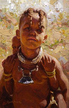 """Himba Piggyback"" - Scott Burdick (b.1967), oil on canvas, Nambia, Africa, 2008 {figurative #impressionist art child woman face portrait #impasto texture painting #loveart} scottburdick.com"