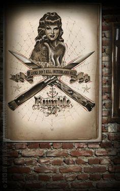 Rumble59 Poster - Switchblades - Poster mit handgemaltem Pin-Up Motiv auf hochwertigem Papier und in großem Format. - Rockabilly-Rules.com