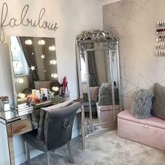 Dressing room goals from mrs_rackley.home featuring our Diaz Hollywood Mirror. Dressing Table Decor, Dressing Table Mirror, Hollywood Mirror, Hollywood Bedroom, Teen Room Decor, Bedroom Decor, Mirrored Bedroom Furniture, Furniture Decor, Wall Decor