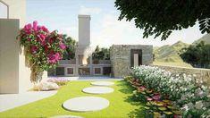 Σχεδιασμός κήπου Σχεδιασμός και  διακόσμηση κήπου με ιδιαίτερο  στυλ. 3d ANIMATION ΚΗΠΩΝ Thessaloniki, Garden Design, Golf Courses, Sidewalk, 3d Animation, Side Walkway, Walkway, Landscape Designs, Walkways