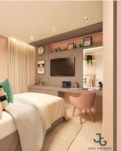 23 small bedroom ideas that are look stylishly & space saving 00004 Teen Bedroom Designs, Bedroom Decor For Teen Girls, Room Ideas Bedroom, Teen Room Decor, Small Room Bedroom, Home Decor Bedroom, Study Room Decor, Home Room Design, Tiny Bedroom Design