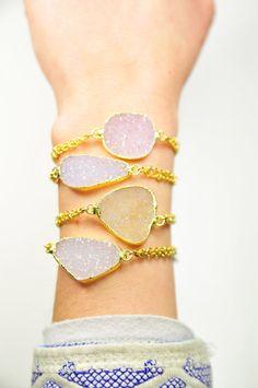 Rose Pink 24K Gold Druzy Quartz Bracelet by shopchristinanicole
