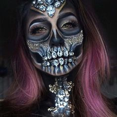 Halloween makeup inspiration incorporating faux gems applied with spirit gum. Find more ideas for Halloween makeup with pink hair at Star Style Wigs. Click the image for full article. Halloween Looks, Halloween Costumes, Halloween Face Makeup, Scary Halloween, Amazing Halloween Makeup, Halloween Inspo, Halloween Halloween, Maquillaje Sugar Skull, Fantasias Halloween