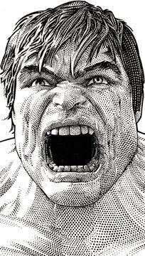 Wall Street Journal portrait (hedcut) of The Hulk