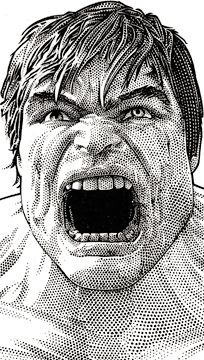 Wall Street Journal portrait (hedcut) of The Hulk