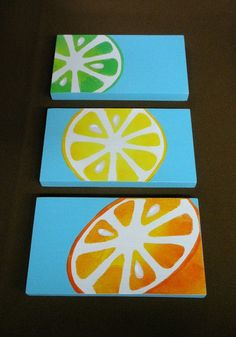 Set of 3, Lemon, Orange and Lime kitchen bathroom wood plaques on aqua blue - by BearlyArtDesigns