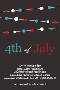 4th of july party wording ideas