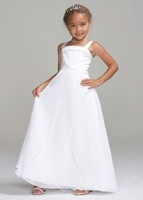 Every little girl will love all the frills on this very special dress. Wide spaghetti straps adorn the satin bodice with trim detail and sparkling center brooch. Chiffon split front full length skirt. Fully lined. Back zip. Imported polyester. Dry clean only.  To protect your dress, our Non Woven Garment Bag is a must have!  *SPECIAL VALUE! Was , Now ! (final selling price; no additional discount may be applied).