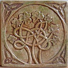 6 x 6 Relief carved Celtic shamrock tile. Shown in a mossy stone UG gloss finish. Celtic Shamrock, Ceramic Tile Art, Clay Tiles, Ceramics Tile, Tile Mosaics, Wood Tiles, Art Tiles, Ceramic Sink, Ceramics Ideas