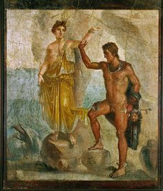 Perseus rescues Andromeda, Roman fresco from Pompeii, 79AD, Naples.