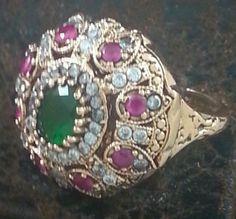 Turkish Ottoman Ring Antique Rare Hareem Al sultan Rose Silver Vintage Jewelry