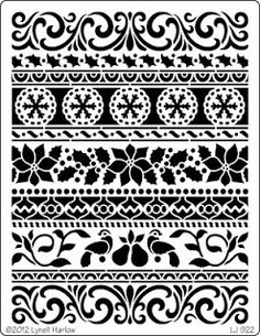 The Scrappy Chick: Dreamweaver Stencils and Woodware Christmas in August Border Pattern, Border Design, Stencil Art, Stencil Designs, Turkish Pattern, Free Poster Printables, Border Embroidery Designs, Christmas Border, Paper Cut Design