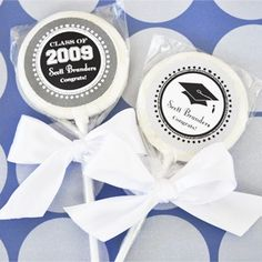 """Hats off to You"" Personalized Graduation Lollipop Favors created by Event Blossom."