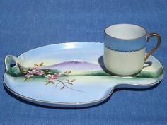 vintage Japan lithophane porcelain snack sets, Mt Fuji tea cups and plates