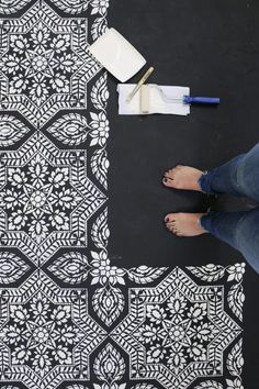 Learn how to paint and stencil a faux tile pattern on a cement floor using the Alhambra Tile Stencil. http://www.cuttingedgestencils.com/alhambra-tile-stencil-asulejos-spanish-tile-wallpaper.html