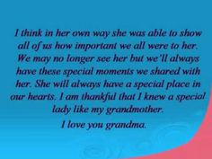 funeral speech for grandma - Google Search