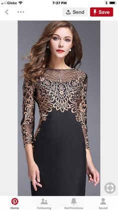 Chic O-Neck Long Sleeve Lace Embroidery Bodycon Dress - New Dress Trendy Dresses, Lace Dresses, Elegant Dresses, Vintage Dresses, Beautiful Dresses, Casual Dresses, Vintage Lace, Wedding Dresses, Wedding Vintage