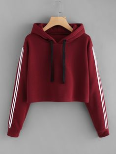 Hoodies And Sweatshirts Women Fashion Striped Long Sleeve Hoodie Sweatshirt Jumper Hooded Pullover Tops Hoodies Teen – Hot Products Crop Top Hoodie, Cropped Hoodie, Red Hoodie, Hoodie Outfit, Hoodie Sweatshirts, Jugend Mode Outfits, Vetement Fashion, Cooler Look, Teen Fashion Outfits