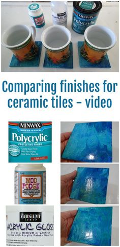 Comparing varnish, sealers and finishes for ceramic tiles and whether they are good to use as coasters. Video comparison and experiment for acrylic pouring on ceramic tiles.