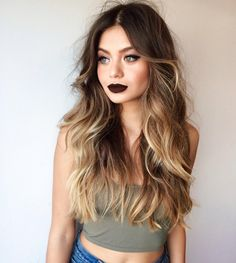 If you're looking for an in-between hair 'do that really rocks, these 27 stunning blonde highlights for dark hair looks definitely tick all the right boxes. Ombre Hair Color, Blonde Color, Blonde Brunette, Hair Colour, Long Ombre Hair, Blonde Tips, Brunette Color, Hair And Beauty, Ombre Hair