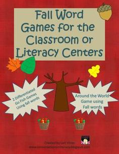 Fall Word Games: Go Fish and Around the World- 3 fun games for whole class or literacy centers to go with your fall theme-$
