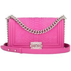 Chanel Pink Python Medium Boy Bag ❤ liked on Polyvore featuring bags, handbags, shoulder bag, shoulder handbags, shoulder bag purse, chanel bags and pink shoulder bag