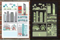 """Jason Dean est un illustrateur originaire d'Orlando en Floride qui propose des créations modernes et expérimentales en édition limitée. La série d'affiches sérigraphiés """"Day and Night"""" offre une double visions des villes de New York et San Francisco grâce à l'utilisation d'une encre phosphorescente. À la nuit tombée, ces capitales urbaines à l'allure tranquille se transforment en un monde de crimes et de vices."""
