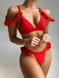 Cute Swimsuits, Two Piece Swimsuits, Women Swimsuits, Bikini Rot, Push Up Bikini, Red Swimsuit, Red Bikini, Bandeau Bikini, Thong Bikini