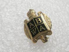 "Vintage ABWA Shield Pin/Brooch, 1/10 10kt G.F., black enameled - 2/3"""