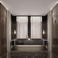 Office Interior Design, Office Interiors, Washroom, Master Bathroom, Large Bathrooms, Interior Architecture, House Design, Bathroom Lighting, Mirror