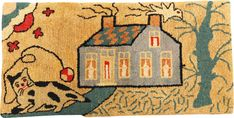 An American pictorial hooked rug: Blue house<br />circa 1930 | lot | Sotheby's