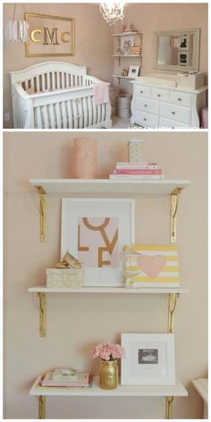 Glam Pink and Gold Nursery - gorgeous shelf styling and gorgeous decor!